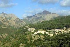 科西嘉人典型的村庄 免版税图库摄影