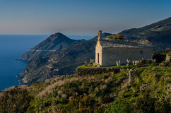 科西嘉岛风景的教堂 库存图片