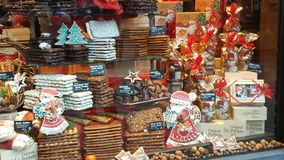 科隆圣诞节shopfront 免版税库存图片