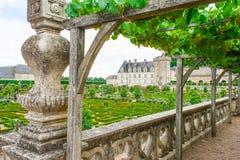 科隆比耶尔美丽的城堡庭院在卢瓦尔河法国 库存图片