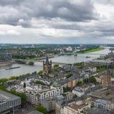 科隆鸟瞰图从科隆大教堂的观点 库存图片