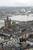 科隆鸟瞰图从科隆大教堂的观点 免版税库存照片