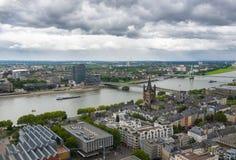 科隆鸟瞰图从科隆大教堂的观点 免版税图库摄影