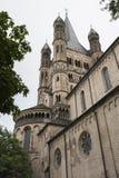 科隆,德国- 2016年9月11日:罗马式天主教会`总Sankt马丁`伟大的圣马丁在老镇彻尔 图库摄影