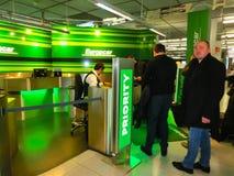 科隆,德国- 2017年12月12日:Europcar出租汽车办公室在法兰克福哈恩机场在德国 库存照片