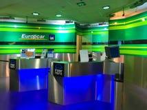 科隆,德国- 2017年12月12日:Europcar出租汽车办公室在法兰克福哈恩机场在德国 免版税库存照片