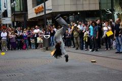 科隆,德国- 2011年8月13日:在街道上的火展示在C 免版税库存图片