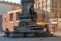 科隆,德国- 2017年1月19日:Werth的1月冯喷泉纪念碑的片段 库存图片