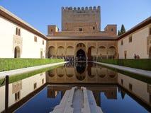 科马雷斯的宫殿在阿尔罕布拉宫 格拉纳达西班牙 库存照片
