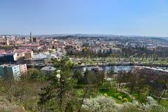 科鲁Napoca市看法,在春天,从Cetatuia小山 免版税库存照片