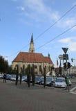 科鲁Napoca RO, 9月23th日:射击从科鲁Napoca联合广场的柱子纪念碑从特兰西瓦尼亚地区的在罗马尼亚 免版税图库摄影