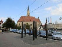 科鲁Napoca RO, 9月23th日:射击从科鲁Napoca联合广场的柱子纪念碑从特兰西瓦尼亚地区的在罗马尼亚 库存图片