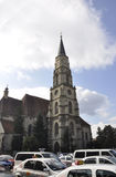 科鲁Napoca RO, 9月23th日:从科鲁Napoca联合广场的教会圣迈克尔从特兰西瓦尼亚地区的在罗马尼亚 免版税库存照片