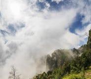 科代卡纳尔柱子岩石盖了在密集的薄雾下 库存照片