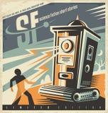 科幻小说的减速火箭的书店海报设计想法 免版税库存照片