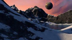 科幻空间行星场面 图库摄影