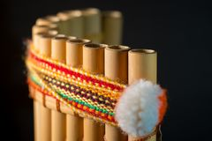 秘鲁乐器由竹子制成 免版税库存图片
