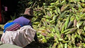 秘鲁人传统上加工好的妇女在玉米市场上 免版税库存照片