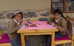秘鲁小学生 免版税库存图片