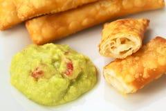 秘鲁开胃菜叫Tequeno 免版税库存图片
