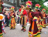 秘鲁狂欢节的舞蹈演员 免版税库存图片