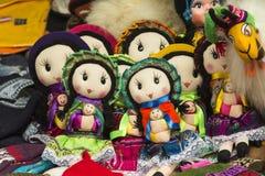 从秘鲁的工艺品玩具 秘鲁安地斯山的文化的表示法 玩具 免版税图库摄影