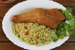 秘鲁盘的肉菜饭 库存照片