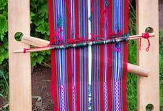 秘鲁编织在的喀喀湖 图库摄影
