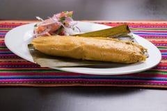 秘鲁食物:tamal,玉米粽子 免版税库存图片
