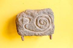 秘鲁 古老阿兹台克人和玛雅人石雕塑 免版税图库摄影