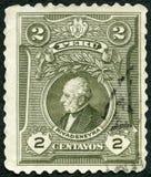 秘鲁- 1924年:显示何塞特哈达Rivadeneyra画象  免版税图库摄影