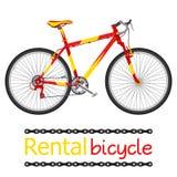 租用自行车,游人的出租自行车平的样式的 免版税库存图片