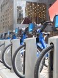 租的自行车作为在纽约Ci的Citibike节目一部分 库存照片