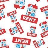 租赁与房子无缝的样式背景象的标志 事务 免版税库存照片