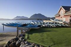 租赁的皮船在Tofino, BC 库存照片