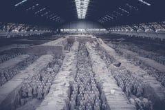 秦国赤土陶器战士和马小雕象 免版税库存图片