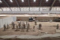秦始皇兵马俑战士马修理工作区域 库存照片