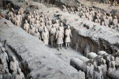 秦始皇兵马俑考古学站点 图库摄影