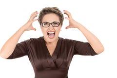 积极的叫喊的女实业家 图库摄影