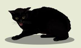 积极的恶意嘘声机智 猫恼怒 猫嘘声 喜爱的宠物 可实现的向量例证 免版税库存照片