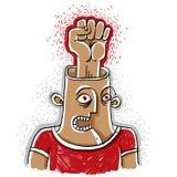 积极的战斗机 愤怒的人wi的手拉的例证 向量例证