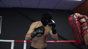 积极的拳击手与有他的教练的拳击爪子一起使用在圆环 实践的一系列的腿拳打 赤裸上身 股票视频