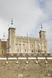 积雪的伦敦塔 免版税库存照片
