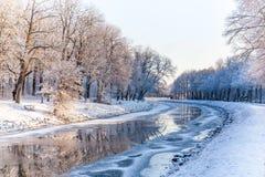 积雪的公园在斯德哥尔摩 库存照片