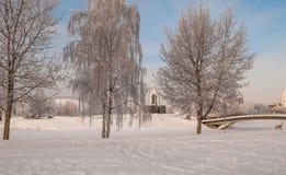 积雪的公园在米斯克 图库摄影
