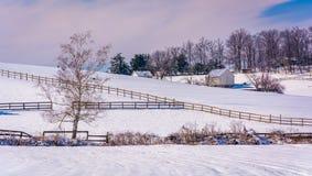积雪的农田在农村卡洛尔县,马里兰 库存图片