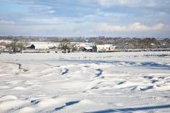 积雪的农田 免版税库存图片