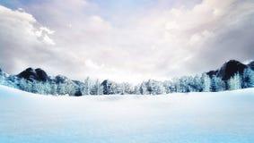 积雪的冬天山风景 库存图片