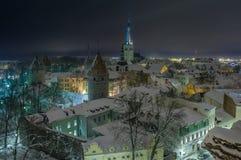 积雪的塔林的晚上视图 库存照片