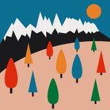 积雪的山和树 免版税库存图片